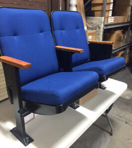 Used theater seating. Irwin Marquee Blue MOCA museum chairs